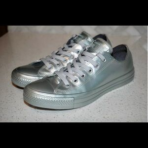 Converse All Star Womens Rubber Silver Sneakers